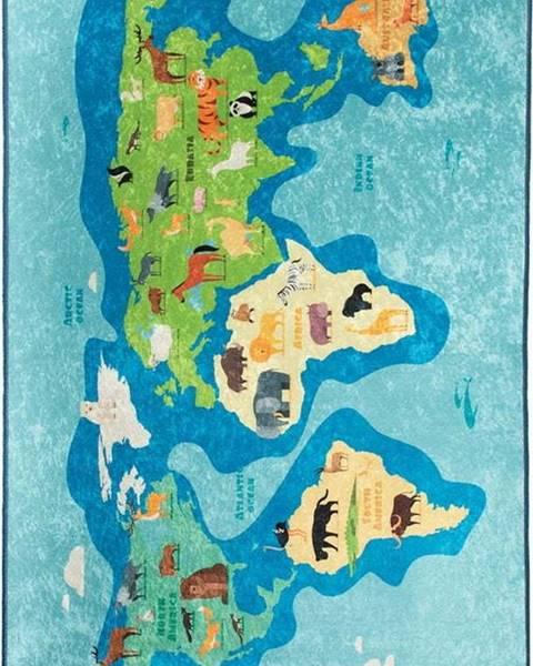 Chilai Modrý dětský protiskluzový koberec Chilai Map,100x160cm