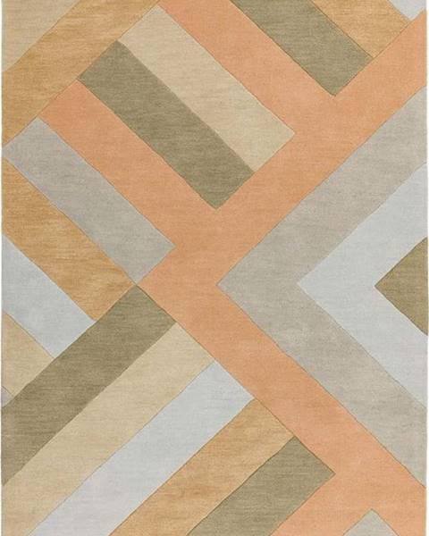Asiatic Carpets Šedo-lososový koberec Asiatic Carpets Big Zig, 120 x 170 cm