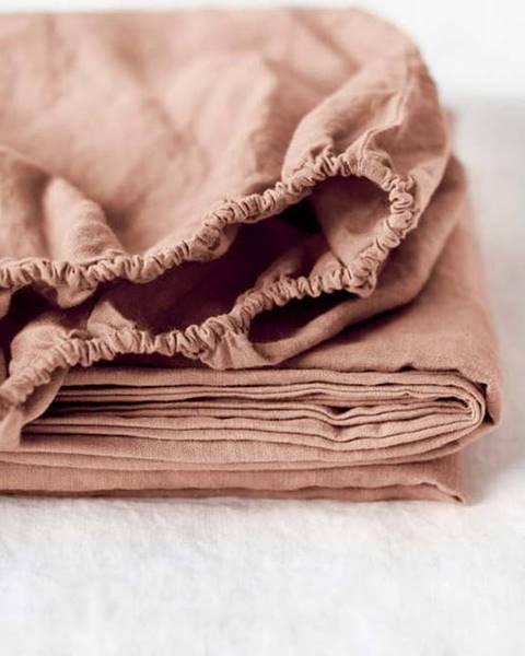 Linen Tales Terakotově hnědé lněné elastické prostěradlo Linen Tales, 90 x 200 cm