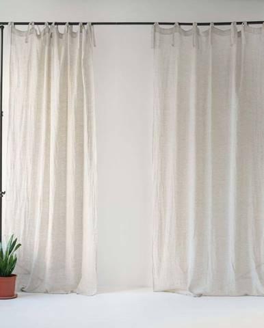 Béžový lněný lehký závěs s poutky Linen Tales Daytime, 275x130cm