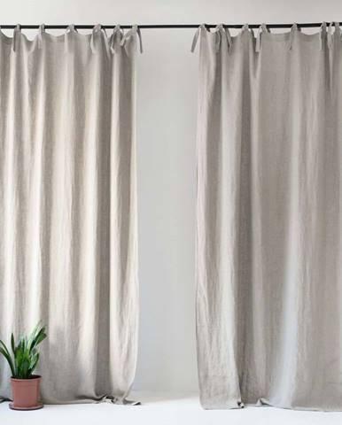 Béžový lněný závěs s poutky Linen Tales Night Time, 250x140cm