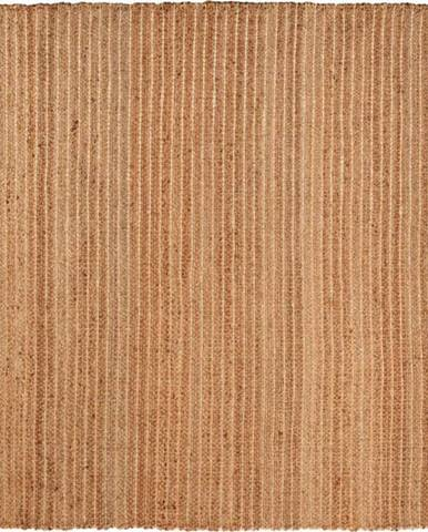 Hnědý ručně vyrobený koberec Nattiot Saheli, 140 x 140 cm