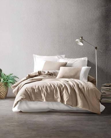 Krémové bavlněné povlečení s prostěradlem Cotton Box Plain, 200 x 220 cm