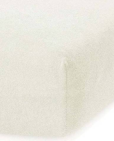 Krémově bílé elastické prostěradlo s vysokým podílem bavlny AmeliaHome Ruby, 100/120 x 200 cm