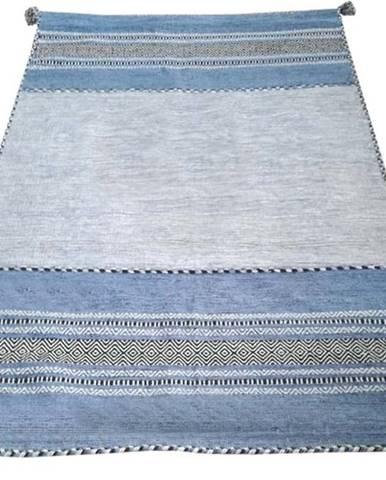 Modro-šedý bavlněný koberec Webtappeti Antique Kilim, 60 x 90 cm