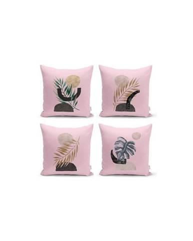 Sada 4 dekorativních povlaků na polštáře Minimalist Cushion Covers Geometric Leaf Pink,45x45cm
