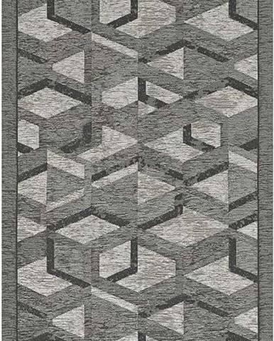 Šedo-černý běhoun Floorita Hypnotik, 55 x 115 cm