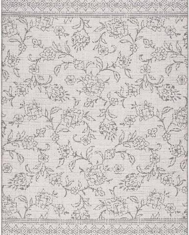 Šedý venkovní koberec Universal Weave Floral, 77 x 150 cm