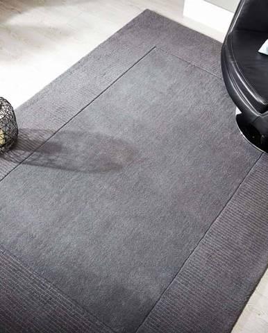 Šedý vlněný koberec Flair Rugs Siena, 80 x 150 cm