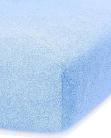 Světle modré elastické prostěradlo s vysokým podílem bavlny AmeliaHome Ruby, 140/160 x 200 cm