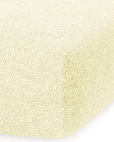 Světle žluté elastické prostěradlo s vysokým podílem bavlny AmeliaHome Ruby, 100/120 x 200 cm