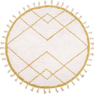 Bílo-žlutý bavlněný ručně vyrobený koberec Nattiot,ø120cm