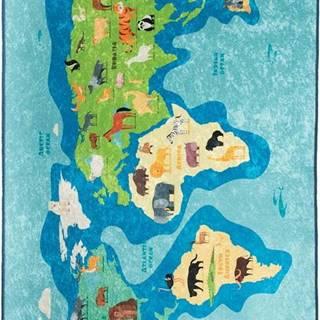 Modrý dětský protiskluzový koberec Chilai Map,100x160cm
