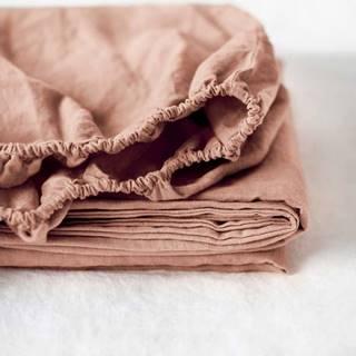 Terakotově hnědé lněné elastické prostěradlo Linen Tales, 90 x 200 cm