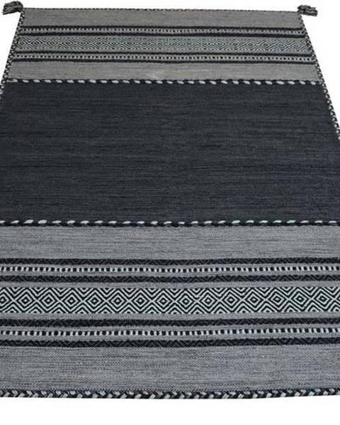 Webtappeti Tmavě šedý bavlněný koberec Webtappeti Antique Kilim, 60 x 90 cm