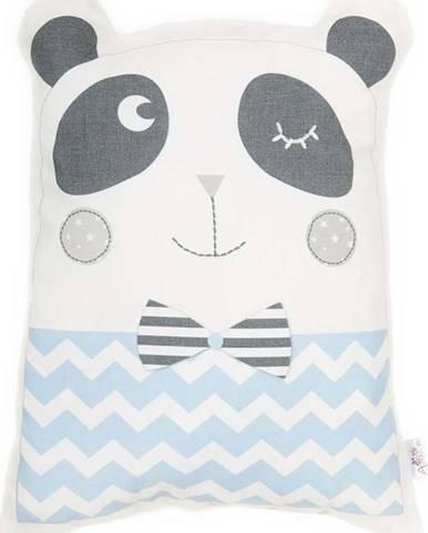 Modrý dětský polštářek s příměsí bavlny Mike&Co.NEWYORK Pillow Toy Panda, 25 x 36 cm