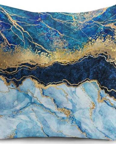 Povlak na polštář Minimalist Cushion Covers Marble With Blue, 45 x 45 cm