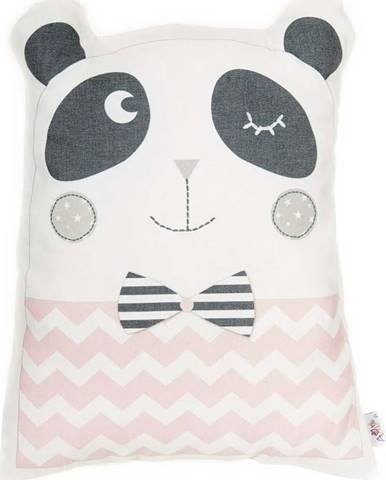 Růžový dětský polštářek s příměsí bavlny Mike&Co.NEWYORK Pillow Toy Panda, 25 x 36 cm