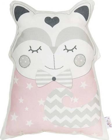 Růžový dětský polštářek s příměsí bavlny Mike&Co.NEWYORK Pillow Toy Smart Cat, 23 x 33 cm