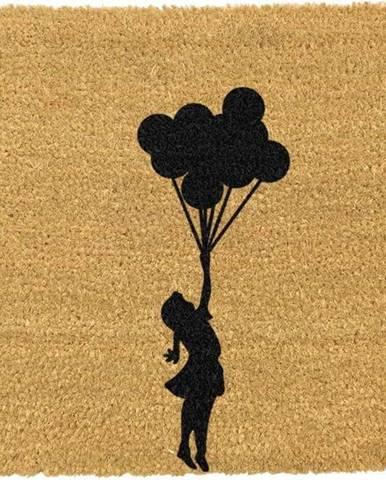 Rohožka z přírodního kokosového vlákna Artsy Doormats Flying Balloon Girl,40x60cm