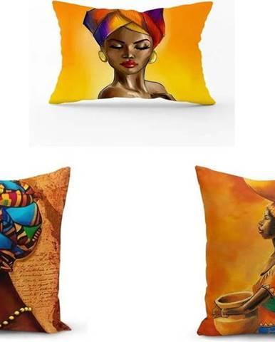 Sada 3 povlaků na polštáře Minimalist Cushion Covers African Culture, 45 x 45 cm