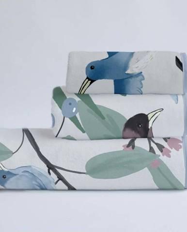 Sada 3 ručníků z bavlny a mikrovlákna Surdic Tropical Birds