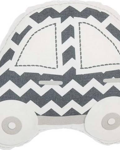 Šedo-bílý dětský polštářek s příměsí bavlny Mike&Co.NEWYORK Pillow Toy Car, 32 x 25 cm