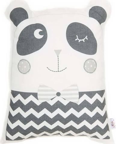 Šedý dětský polštářek s příměsí bavlny Mike&Co.NEWYORK Pillow Toy Panda, 25 x 36 cm