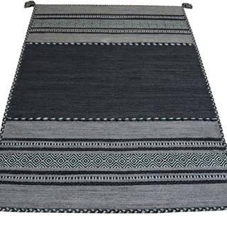 Tmavě šedý bavlněný koberec Webtappeti Antique Kilim, 60 x 90 cm