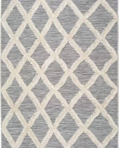 Bílo-šedý koberec Universal Cheroky Geo, 55 x 110 cm