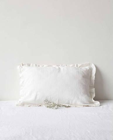 Bílý lněný povlak na polštář s řaseným lemem Linen Tales, 50 x 60 cm