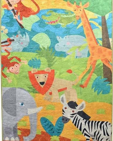 Dětský protiskluzový koberec Chilai Animals,100x160cm