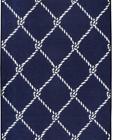 Modro-bílý oboustranný koberec Rope, 120 x 180 cm