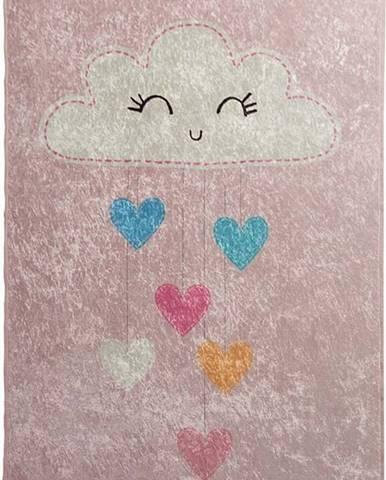 Růžový dětský protiskluzový koberec Chilai Baby Cloud,140x190cm