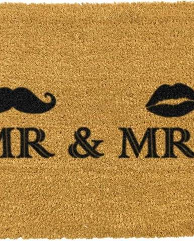 Rohožka z přírodního kokosového vlákna Artsy Doormats Mr and Mrs,40x60cm