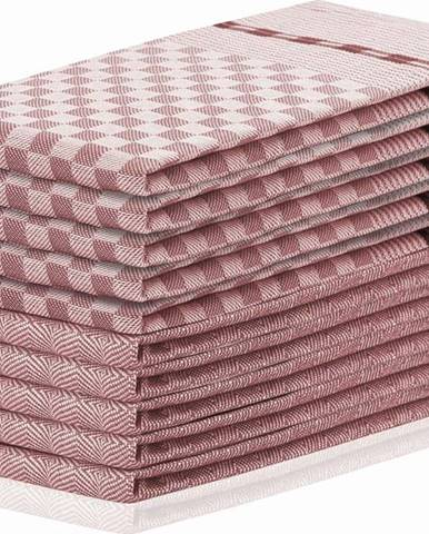 Sada 10 tmavě růžových bavlněných utěrek DecoKing Louie, 50 x 70 cm