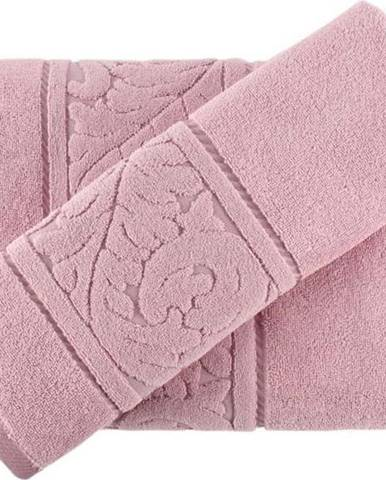 Sada růžového ručníku a osušky Sultan