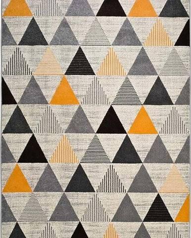 Šedo-oranžový koberec Universal Leo Triangles, 140 x 200 cm