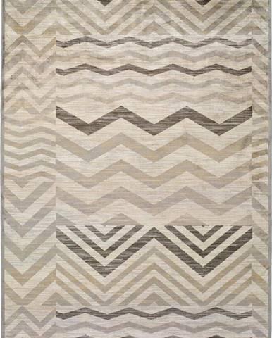 Šedý koberec z viskózy Universal Belga Zig Zag, 160 x 230 cm