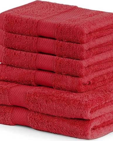 Set 2 červených osušek a 4 ručníků DecoKing Bamby Red
