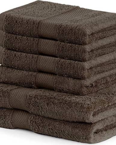 Set 2 tmavě hnědých osušek a 4 ručníků DecoKing Bamby Brown