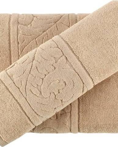 Set béžového bavlněného ručníku a osušky Sultan Beige