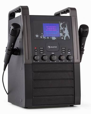 Auna KA8P-V2 BK, černá, karaoke systém s CD přehrávačem, AUX, 2 mikrofony