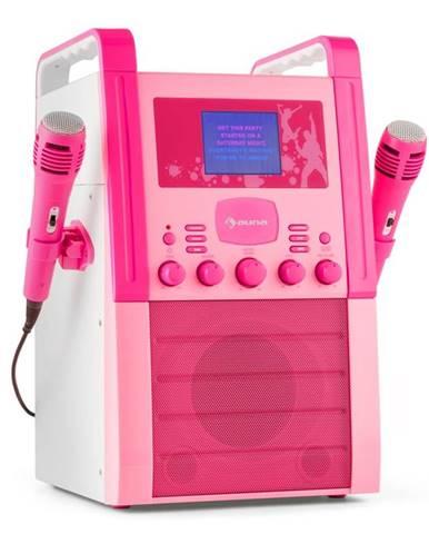 Auna KA8P-V2 PK, růžová, karaoke systém s CD přehrávačem, AUX, 2 mikrofony