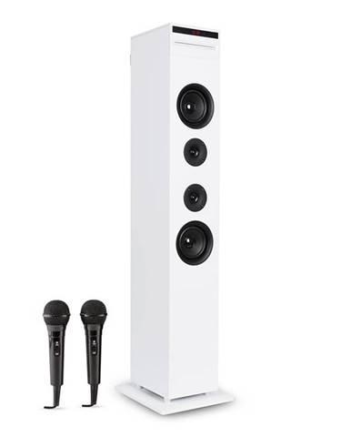 Auna Karaboom CD karaoke zařízení, bluetooth, MP3, USB nabíječka, mikrofon, dálkové ovládání, bílá barva