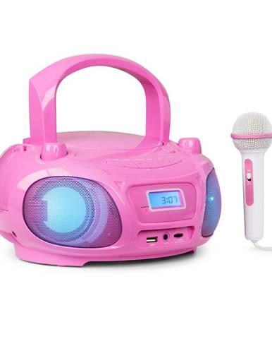 Auna Roadie Sing, CD boombox, FM rádio, světelná show, CD přehrávač, mikrofon, růžový