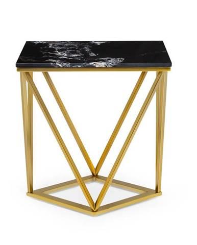 Besoa Black Onyx II, konferenční stolek, 50 x 55 x 35 cm (Š x V x H), mramor, zlatý/černý