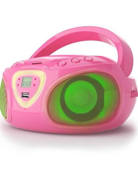 Auna Auna Roadie, boombox, růžový, CD, USB, MP3, FM/AM rádio, bluetooth 2.1, LED barevné efekty