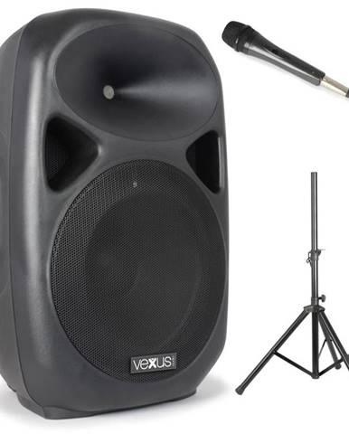 Vexus SPS152 PA reproduktorová sada, 600 W max., bluetooth, USB, SD, MP3, AUX, stativ, mikrofon