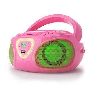 Auna Roadie, boombox, růžový, CD, USB, MP3, FM/AM rádio, bluetooth 2.1, LED barevné efekty